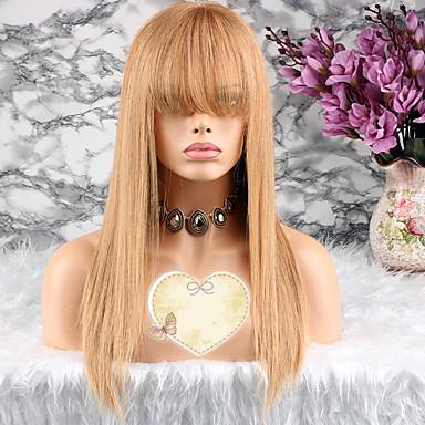 billige Blondeparykker med menneskehår-Remy Menneskehår Blonde Forside Parykk Lagvis frisyre Taylor stil Brasiliansk hår Rett Gull Parykk 130% Hair Tetthet med baby hår Gull Dame Kort Medium Lengde Lang Blondeparykker med menneskehår