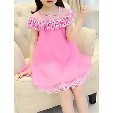 fd4ef11d5c4c3 Kids Girls' Casual Street chic Daily Going out Patchwork Short Sleeve  Polyester Dress Fuchsia