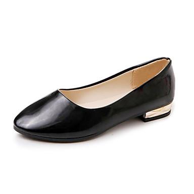 Női Cipő PU Nyár Kényelmes Lapos Gyalogló Alacsony Erősített lábujj Strasszkő mert Fekete Szürke Barna