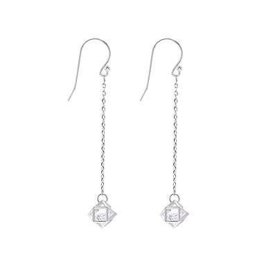 Damskie Cyrkonia Długie Kolczyki drop - S925 srebro Prosty, Koreański, Moda Srebrny Na Prezent Codzienny