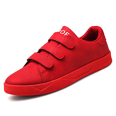 Men's Pigskin / PU(Polyurethane) Spring / Fall Comfort / Sneakers Black / Gray / Comfort Red 57df0d
