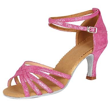 Chaussures de danse(Noir / Bleu / Jaune / Rose / Violet / Rouge / Blanc) -Personnalisables-Talon Personnalisé-Satin-Latine / Salsa , pink , us8 / eu39 / uk6 / cn39