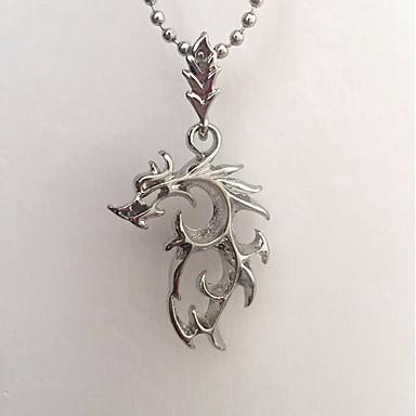 abordables Collier-Collier Pendentif Dragon simple Rock Satanique Argent 48 cm Colliers Tendance Bijoux pour Quotidien