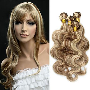 3 zestawy Włosy brazylijskie Falowana Włosy naturalne Ombre / Pakiet One Solution / Doczepy z naturalnych włosów Wielokolorowy Ludzkie włosy wyplata Miękka / Włosy ombre / Nieprzetworzony Ludzkich