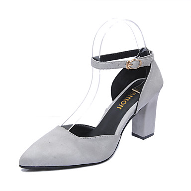 Women's Shoes Patent Leather Summer Comfort Heels Walking Shoes Chunky Heel Round Toe Black / Gray / Dress