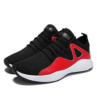 Muškarci Cipele Pletivo Til Ljeto Jesen Svjetleće tenisice Udobne cipele Sneakers Trčanje za Atletski Kauzalni Crn Sive boje Crno / crvena