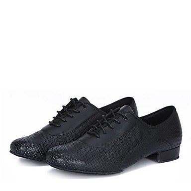 baratos Shall We® Sapatos de Dança-Homens Sapatos de Dança Micofibra Sintética PU Sapatos de Dança Latina Salto Salto Baixo Personalizável Preto / Interior / Couro / Profissional