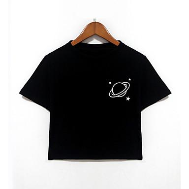 baratos Camisas para Meninos-Recém-Nascido Para Meninos Activo Diário Escola Geométrica Manga Curta Algodão Camiseta Preto / Fofo