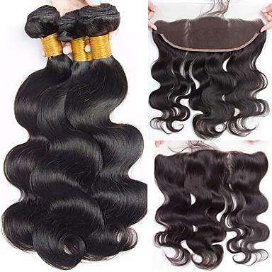 3 zestawy z zamknięciem Włosy peruwiańskie Body wave Włosy virgin Doczepy z naturalnych włosów Taśma włosów z zamknięciem 8-22 in Kolor naturalny Ludzkie włosy wyplata 100% Dziewica Ludzkich włosów
