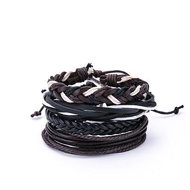 billige Motearmbånd-4stk Herre Sjal Armbånd Vintage Oversized Lær Armbånd Smykker Svart Til Daglig Ut på byen