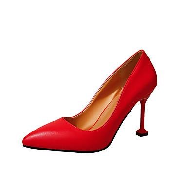 Női Cipő PU Nyár Kényelmes Szandálok Gyalogló Tűsarok Erősített lábujj Gyöngydíszítés mert Fekete / Piros / Mandula