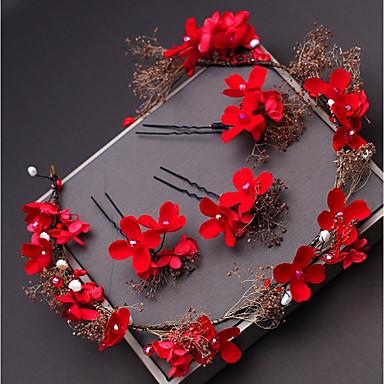 Włókno syntetyczne Stroik z Kryształki / Satynowy kwiatek 1 szt. Ślub / Specjalne okazje Winieta