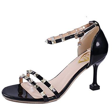 Mujer Zapatos PU Verano Talón Descubierto Sandalias Tacón Plano Dedo Puntiagudo Remache Negro / Plata poKS9f