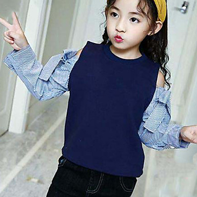 cheap Girls' Tops-Kids Girls' Casual Lines / Waves Patchwork Long Sleeve Cotton Polyester Cotton chambray Blouse White / Cute