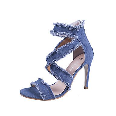 Pentru femei Pantofi Denim Vară Cowboy / Cizme Western Sandale Toc Stilat Vârf deschis Albastru Închis / Albastru Deschis / Nuntă