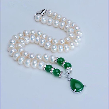 Pentru femei Onyx / Apă dulce Pearl Coliere cu Pandativ - Perle, Apă dulce Pearl Picătură Clasic, Modă Roșu Vin, Verde Închis 46 cm Coliere Bijuterii Pentru Petrecere, Zilnic