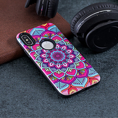 Maska Pentru Apple iPhone X / iPhone 8 Anti Șoc / Embosat / Model Capac Spate Mandala Greu PC pentru iPhone X / iPhone 8 Plus / iPhone 8