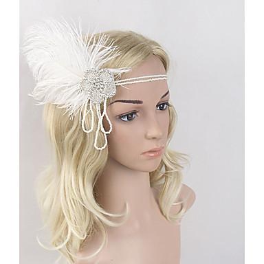 Gatsby Vintage Lata 20. Kostium Damskie Opaska w stylu lat 20-tych Czapki Biały Postarzane Cosplay Pióro Bez rękawów Kostiumy na Halloween