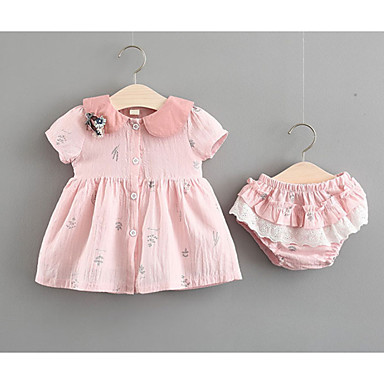 Bebelus Fete Activ / De Bază Floral Imprimeu Manșon scurt Bumbac Set Îmbrăcăminte / Copil