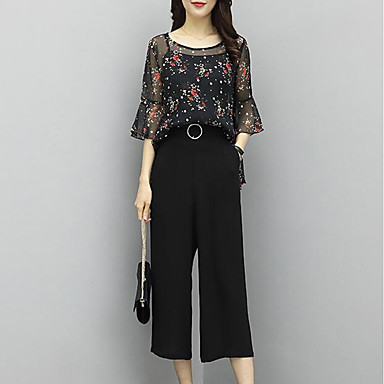Women's Sophisticated / Street chic Flare Sleeve Set - Plaid, Tassel Pant