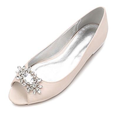billige Toppsalg-Dame bryllup sko Flat hæl Titte Tå Rhinsten / Gummi Sateng Komfort / Ballerina Vår Blå / Lysebrun / Krystall / Bryllup / Fest / aften