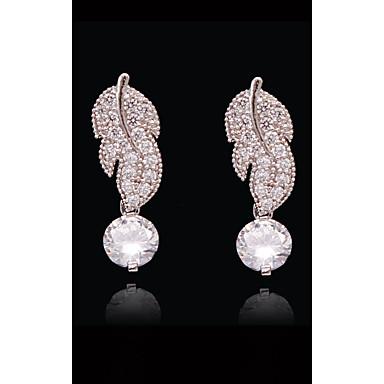 Pentru femei Cristal - Placat Auriu, S925 Sterling Silver Leaf Shape, Floare, Trifoi European, Modă Alb și Argintiu Pentru Stradă / Concediu