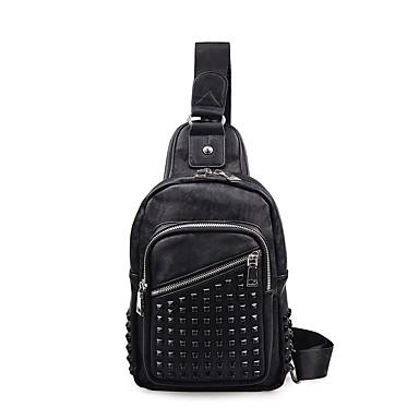 Недорогие Функциональные сумки-Муж. Заклепки / Пуговицы Слинг сумки на ремне Нейлон Под крокодила Черный