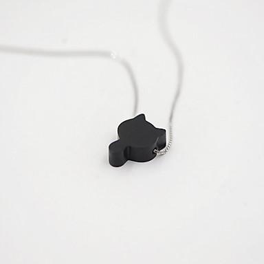 billige Mote Halskjede-Dame Anheng Halskjede Kat Dyr Enkel Unikt design Koreansk Small S925 Sterling Sølv Svart 45 cm Halskjeder Smykker Til Engasjement Daglig