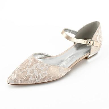 Недорогие Женская свадебная обувь-Жен. Кружева Лето Удобная обувь / Туфли д'Орсе Свадебная обувь На плоской подошве Заостренный носок Ленты Серебряный / Светло-коричневый / Со стразами