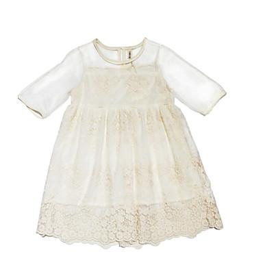 Dzieci Dla dziewczynek Słodkie Jendolity kolor Krótki rękaw Sukienka
