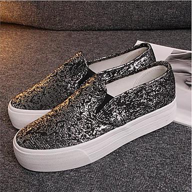 de Mujer Zapatos Media taco Dorado Zapatos Slip Negro On Dedo bajo Confort Tela redondo 06685186 plataforma y Verano dqXwBqr
