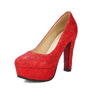 Pentru femei Pantofi Îmbulzesc Primavara vara Balerini Basic Tocuri Toc Îndesat Vârf rotund Auriu / Alb / Rosu / Nuntă / Party & Seară