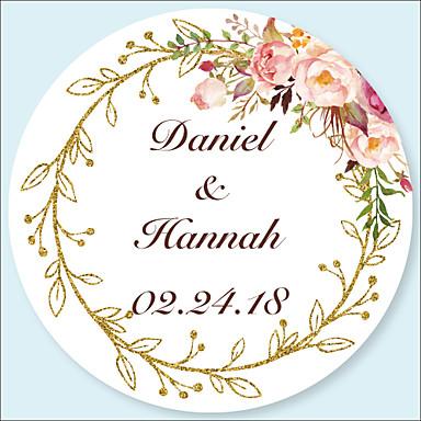 floral botanicals stickers labels tags 48pcs circular