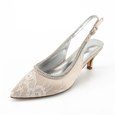 5e5041073d2 Women s Shoes Lace Summer Comfort   Basic Pump   Ankle Strap Wedding Shoes  Kitten Heel Pointed Toe Rhinestone   Beading   Sparkling