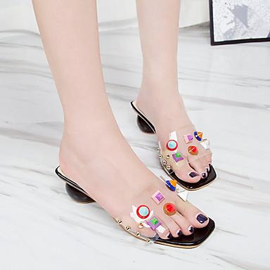 Talón Verano 06710350 Descubierto Zapatos Sandalias Negro PU Mujer Beige Cuadrado Tacón PwUtfqEnv