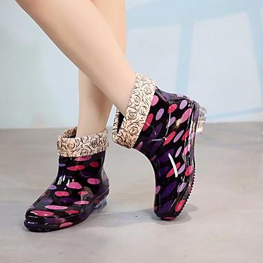 Botas Botas Mujer lluvia Negro de 06683945 PVC Tacón Zapatos Cuero Otoño Bajo Fucsia nIxAwqr0AC