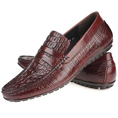 Muškarci Cipele Mekana koža / Koža Proljeće Udobne cipele Natikače i mokasinke Crn / Burgundac