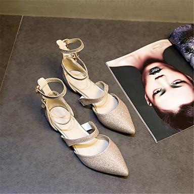 Printemps 06689409 Personnalisées Talon Femme Or Bout été Matières Ballerines Paillette Plat Argent Chaussures Violet Confort Claire pointu SFxIU