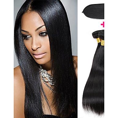 baratos Extensões de Cabelo Natural-3 pacotes com fechamento Cabelo Peruviano Liso 8A Cabelo Humano Trama do cabelo com Encerramento Côr Natural Tramas de cabelo humano Presente Vestir fácil Melhor qualidade Extensões de cabelo humano
