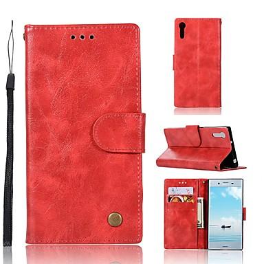 Maska Pentru Sony Xperia XZ Portofel / Titluar Card / Cu Stand Carcasă Telefon Mată Greu PU piele pentru Sony Xperia XZ