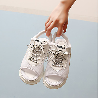 Eté Bout fermé Confort Bleu Polyuréthane 06684552 Chaussures Tulle Talon Sandales Femme Plat Blanc twqSOx