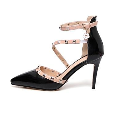 Chaussures Rivet Bout pointu à Boucle Chaussures Femme Similicuir Confort été Talon Aiguille Printemps Noir Blanc Automne 06674058 Talons OP4CYqw