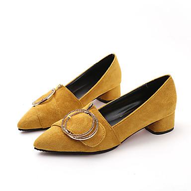Puntiagudo Tacones Negro Dedo Amarillo Talón de verano Confort bloque Zapatos Primavera 06684612 Marrón Ante Mujer xqwvPXZFa4
