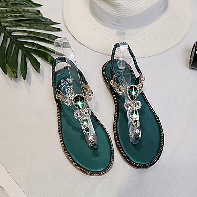 Sandalias PU Verano redondo Verde Confort Pedrería Oscuro Plano Negro Dedo Tacón Zapatos 06681536 Mujer TIxUqWHW