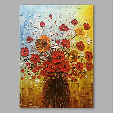 お買い得  壁飾り-ハング塗装油絵 手描きの - 静物画 花柄 / 植物の コンテンポラリー 近代の 内枠を含めます / ストレッチキャンバス