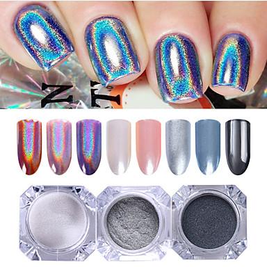 3 pcs Glitter Proszek Efekt lustra / Nail Glitter Nail Art Design Błyszczące Ślub / Wydarzenie / impreza