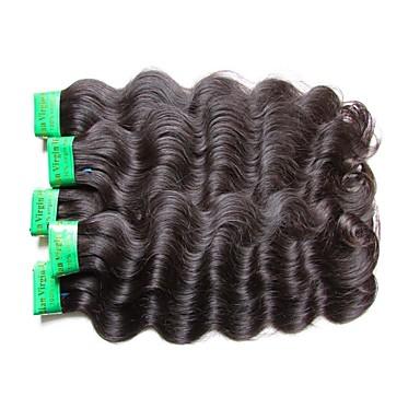baratos Extensões de Cabelo Natural-5 pacotes Cabelo Indiano Ondulado 10A Cabelo Virgem Cabelo Natural Remy Extensões de Cabelo Natural Côr Natural Tramas de cabelo humano Nova chegada Venda imperdível Para Mulheres Negras Extensões de