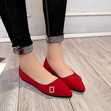 Mujer Puntiagudo Tacón Confort Dedo PU Plano Zapatos Negro Paseo Rojo 06684657 Verano Bailarinas OzrOq6