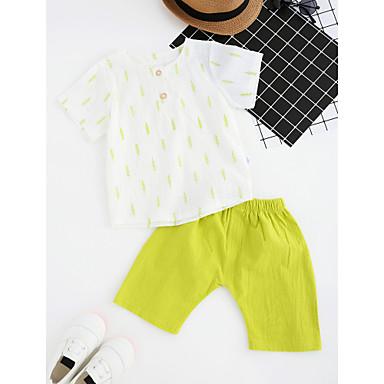סט של בגדים כותנה קיץ שרוולים קצרים יומי דפוס בנים פשוט אפור צהוב