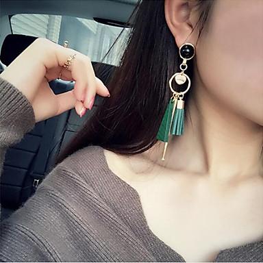 Frędzel / Wzór geometryczny / Długa Kolczyki wiszące - Kutas, Koreański, Modny Black / Green Na Impreza